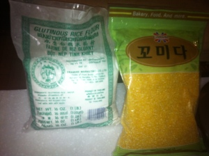 Glutinous rice flour and Comida cornmeal