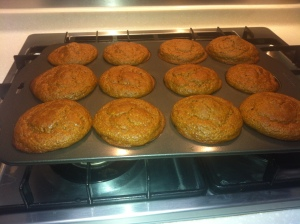 Cornmeal molasses muffins in tin